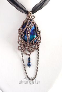 OOAK Blue dichroic glass gothic pendant by ukapala on Etsy