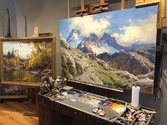 Scott Christensen seeks the ineffable largeness of landscape - Mountain Landscape, Landscape Art, Landscape Paintings, Landscapes, Art Studio Design, Classic Paintings, Le Far West, Traditional Paintings, Western Art