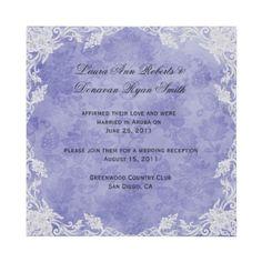 Lavender and White Floral Damask Post Wedding Invitation