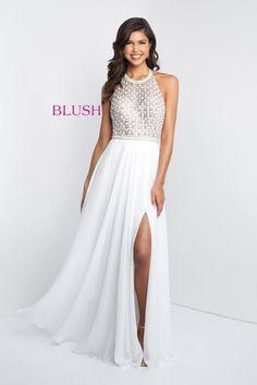e18d2f5e315 Fully beaded bodice with full chiffon skirt Blush Prom