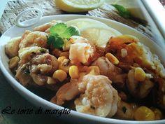 Gamberetti con mais e peperoncino. Un piatto facile da realizzare, con aggiunta di peperoncini piccanti, salsa di soia, cipolle, limone......