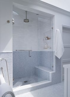 walk in shower, shower seat, recessed tile niche, frameless glass
