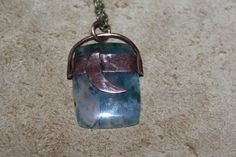 Moon garden : Moss agate pendant on recycled copper by crystalflow