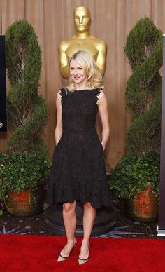 Naomi Watts dresses in black lace Valentino for the 85th Annual Academy Awards Nominations Luncheon