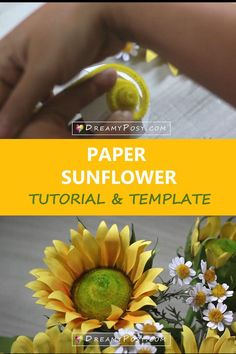 This is a full tutorial with template to make a paper sunflower that you easily DIY Paper Sunflowers, Paper Roses, Wild Shape, Flower Step By Step, Thanksgiving Centerpieces, Create And Craft, Crepe Paper, How To Make Paper, Flower Tutorial