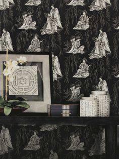 Oriental black and white theme wallpaper.