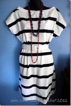 A quick, easy sew, no pattern t-shirt dress.  Would be cute with leggings too.