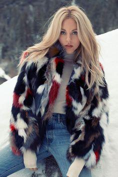 A Fresh Way To Wear A Multicolour Faux Fur