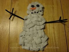 snowman made with packing peanuts