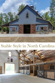 Tour a Stunning Blue Barn in North Carolina - STABLE STYLE - - The ultimate goal was to create a non-traditional horse barn. The memorable blue hue and layout was carefully thought out. Barn Homes Floor Plans, Pole Barn Plans, Building A Pole Barn, Barn House Plans, Building Homes, Carport Modern, Horse Barn Designs, Best Barns, Barn Garage