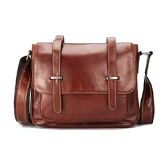 d21b0f84e381 Ekphero Genuine Leather Shoulder Bag Oil Wax First Layer Cowhide Retro  Leisure Crossbody Bag For Men is hot-sale