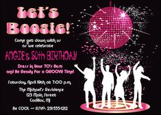 Disco Dance Birthday Party Invitation by FabPartyPrints - Retro 70's Adult Invite
