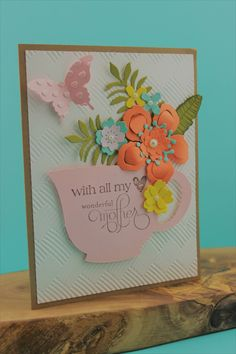 Mother's Day Cards, Tea Cup Cards, Happy Mother's Day, Unique Cards, Handmade Cards, Cards for Mom, Stampin Up Mother's Day, Greeting Cards by JencardsBoutique on Etsy