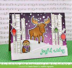 Lawn Fawn - Joy to the Woods + coordinating dies, Critters in the Arctic + coordinating dies, Let it Snow, Stitched Hillside Borders _ winter scene card by Nadia for Have A Very Fawny Holiday Week