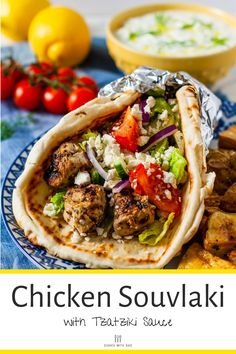 Chicken Souvlaki is a Greek street food classic that is bursting with flavor. It consists of chicken kebabs marinated in Tzatziki Sauce, Greek Chicken Souvlaki, Chicken Souvlaki Pita Recipe, Greek Chicken Kebabs, Greek Chicken Pita, Tzatziki Chicken, Greek Pita, Pita Wrap, Pain Pita