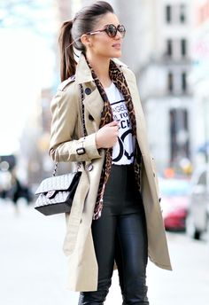 Leather pants. Printed tee. Leopard jacket. Trench coat.