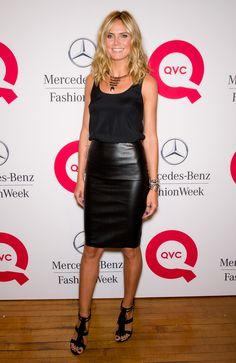 Comment porter la jupe crayon en restant cool ? - Le look cuir d'Heidi Klum