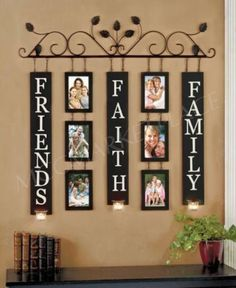 Sentiment Photo Frame Sconce creates a beautiful display of 6 precious memories to warm your heart and enhance your room& decor. Hanging from a decorative scr Family Photo Frames, Family Wall, Picture Frames, Picture Wall, Family Photos, Picture Ideas, Family Room, Photo Displays, Display Photos