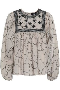 Embroidered cotton-voile blouse
