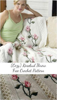 Rosebud Throw Free Crochet Pattern #crochet #freepattern