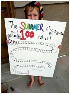 "Another pinner: ""summer of 100 miles biked together"" - love this way of getting your little tyke active with you! Will have to hold off on my fam until we are a little older, but it's a fantastic idea! Hmm... could maybe make a ""walk around the neighborhood"" chart... now my wheels are spinning..."