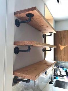 Floating Black Steel Pipe Shelving - Home project - Shelves Diy Shelves, Decor, Industrial Shelving, Diy Home Decor, Home Diy, Farmhouse Diy, Shelves, Shelf Design, Industrial Home Design