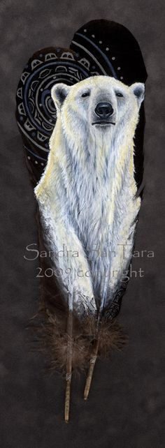 Spirit of the Midnight Sun - Polar Bear on Turkey feathers painted print Feather Painting, Feather Art, Stone Painting, Parrot Feather, Feather Crafts, Native American Pictures, Native American Art, Bear Art, Native Art