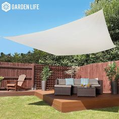 Buy Garden Life Square Waterproof Sun Shade Sail - Sand at Waltons Garden Buildings. UK made sheds, cabins and more. Deck Sun Shade, Garden Sun Shade, Sun Sail Shade, Shade Sails, Sun Sails, Garden Sail, Decking Area, Patio Umbrellas, Backyard Patio
