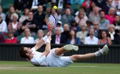 Andy Murray doesn't take Wimbledon competition lying down...or does he? (Photo: Julian Finney / Getty Images) #Wimbledon #Tennis