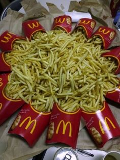 How To Summon Ronald McDonald A bunch of large McDonald's fry containers arranged in a circle with the fries in a pile in the middle. Mcdonalds Fries, Percy Jackson Fandom, French Fries, Food Cravings, Junk Food, Ronald Mcdonald, Foodies, I Am Awesome, Food Porn