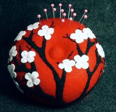 Large Japanese cherry blossoms pincushion Custom Made to Order | verybigjen - Needlecraft on ArtFire
