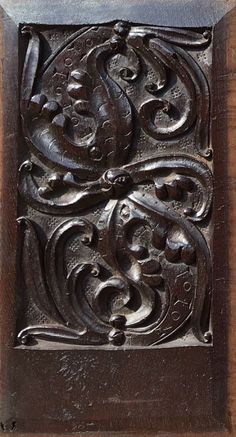 Rare Pair of Mid 16th Century English Antique Carved Oak Panels Depicting Swirling Foliage, Circa 1540