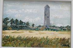 Round Tower Portrane Original Painting Oil on Canvas Oil Paintings, Original Paintings, Round Tower, Irish Art, Oil On Canvas, The Originals, Vintage, Vintage Comics, Art Oil