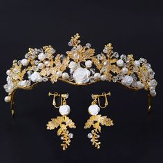 HG398 Korean bride jewelry retro Baroque Golden White Rhinestone crown Pearl Earrings two piece #Affiliate