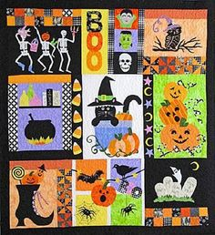 "New Quilt Pattern Pieced Applique Halloween Sampler 57""X62"" | eBay"