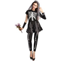 Womens Skeleton Printed Corpse Bride Halloween Costume Black (185 RON) ❤ liked on Polyvore featuring costumes, black, womens costumes, sexy women halloween costumes, corpse bride halloween costume, sexy costumes and skeleton costume