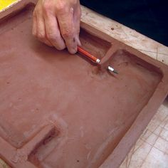 How-to hang a large tile. I got a 404 msg when trying to link, but the photo is adequate. Pottery Tools, Slab Pottery, Ceramic Pottery, Pottery Art, Pottery Ideas, Ceramic Tools, Ceramic Wall Art, Ceramic Clay, Wall Tile