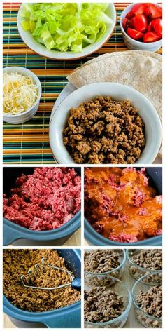 """Slow Cooker """"Browns-in-the-Crockpot"""" Spicy Ground Beef for Tacos, Burritos, or Taco Salad - (Makes enough highly seasoned spicy ground beef to make about 9 taco salads, 9 burritos, or 12 tacos."""