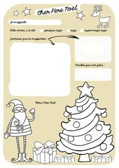 Lettre au Père Noël à colorier version doré French Christmas, Noel Christmas, Christmas Colors, Christmas And New Year, Christmas Cards, Diy For Kids, Crafts For Kids, Printable Letters, Selection