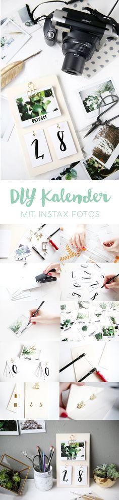 Kreative DIY Idee zum Selbermachen: DIY Kalender basteln aus Sperrholz und Instax Sofortbildern