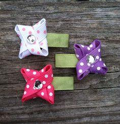 Polka Dotted Flower Snap Hair Clip Set Baby Hair by Ribbon Hair Clips, Baby Hair Clips, Baby Hair Bows, Ribbon Barrettes, Baby Headbands, Headband Hairstyles, Diy Hairstyles, Church Hairstyles, Toddler Hair Bows