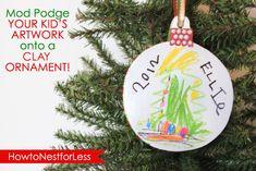mod podge drawing on ornament