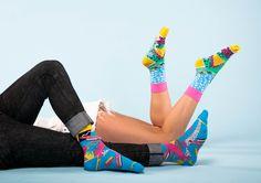9.90$ - WHAM socks,  80s socks, palmtree socks, pattern socks for women, music socks, women's argyle socks, funky women socks, socks