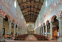 Basilica di San Piero a Grado, Pisa, interior with frescoes by Deodato Orlandi View from the high altar. In the background the Ciborium
