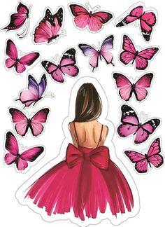 Butterfly Cakes, Butterfly Birthday, Butterfly Art, Beautiful Girl Drawing, Cute Girl Drawing, Girl Cartoon, Cartoon Art, Girly Drawings, Cute Girl Wallpaper