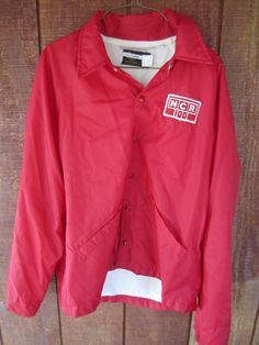 dbc2a658 Vintage NCR Swingster Windbreaker Jacket Size M Medium Red MADE IN USA |  eBay