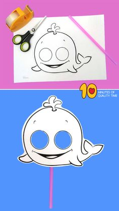 Whale Mask That Kids Will Love! It's cute and fun, and really easy, so enjoy this ocean craft with the kids! Shark Coloring Pages, Bunny Coloring Pages, Whale Crafts, Sea Crafts, Thanksgiving Activities, Fun Activities For Kids, Winter Crafts For Kids, Art For Kids, Toddler Crafts