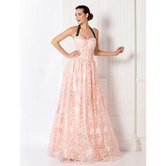 Free Measurements ! A-line Halter Floor-length Lace Evening Dress (949448) – USD $ 199.99