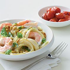 Dinner Tonight: Pasta | Shrimp and Pine Nut Spaghetti | CookingLight.com