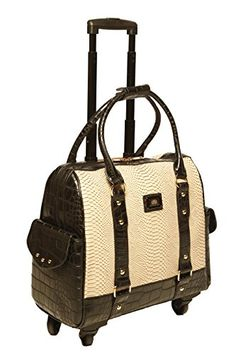 Cream Python with Black Alligator  four wheel rolling laptop and carryall bag that a must have travel friend!